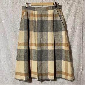 Vintage wool plaid midi pleated skirt